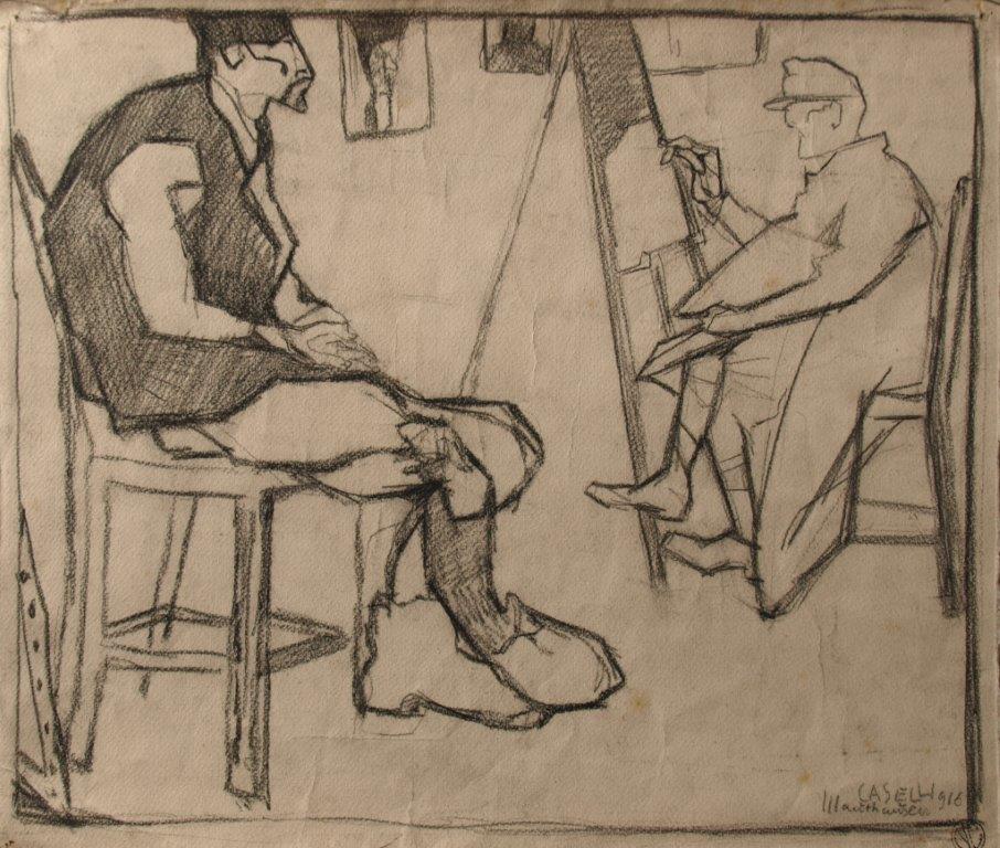 Caselli a Mauthausen 1916 32,8x38,8 disegno su carta collezione Carozzi Lerici