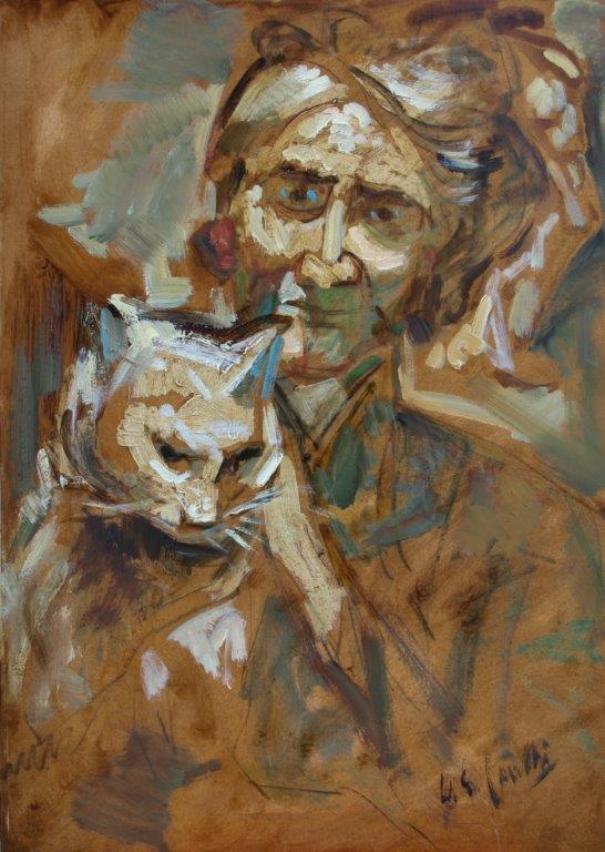 Il gatto, olio su cartone 50x70,4