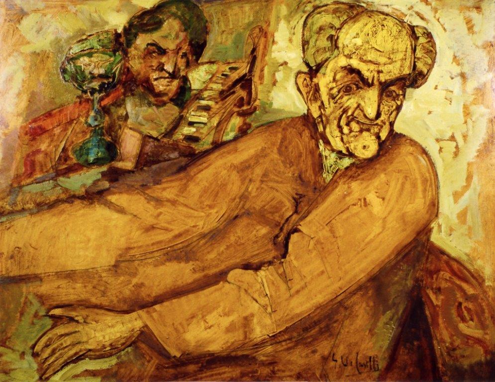 Il musicista pittore Caselli olio su cartone 1948 90X70
