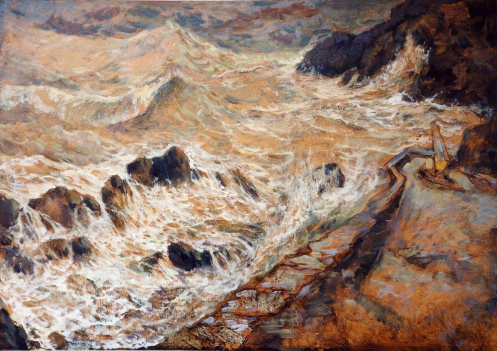 Mareggiata a Manarola olio su cartone 100X70