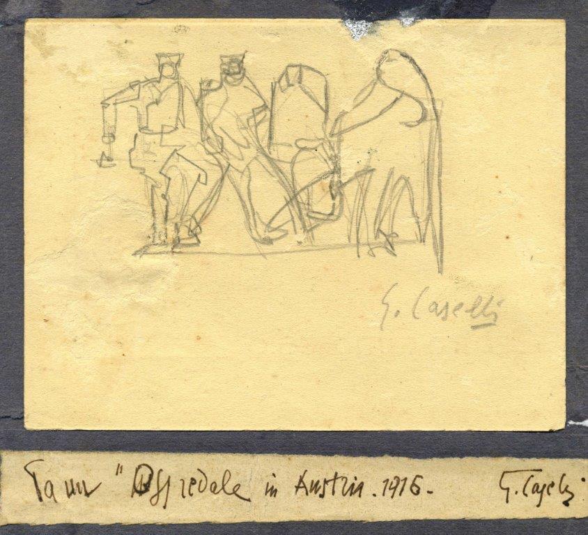 Ospedale a Mauthausen matita su carta 1916 8,8x11,6
