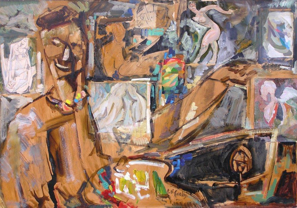 Pittore nello studio olio su cartone 99X69
