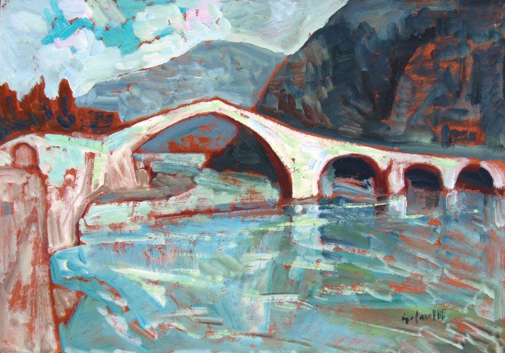 Ponte del Diavolo olio su carta riportata su compensato 34,7x49,6