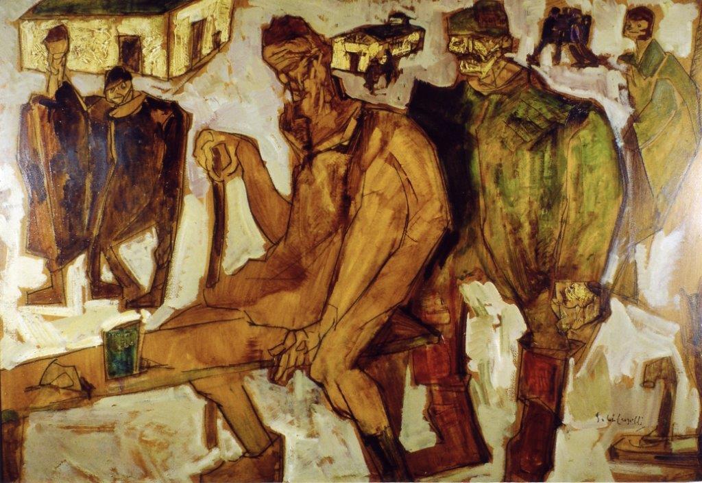 Prigionieri a Mathausen olio su cartone 1930 100X70