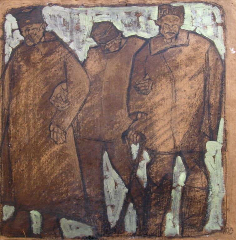 Prigionieri a Mauthausen olio su cartone dipinto in prigionia 44x44,3 collezione Carozzi Lerici