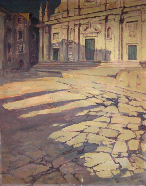 Sagrato di chiesa ( San Lorenzo ) olio su tela 80X100