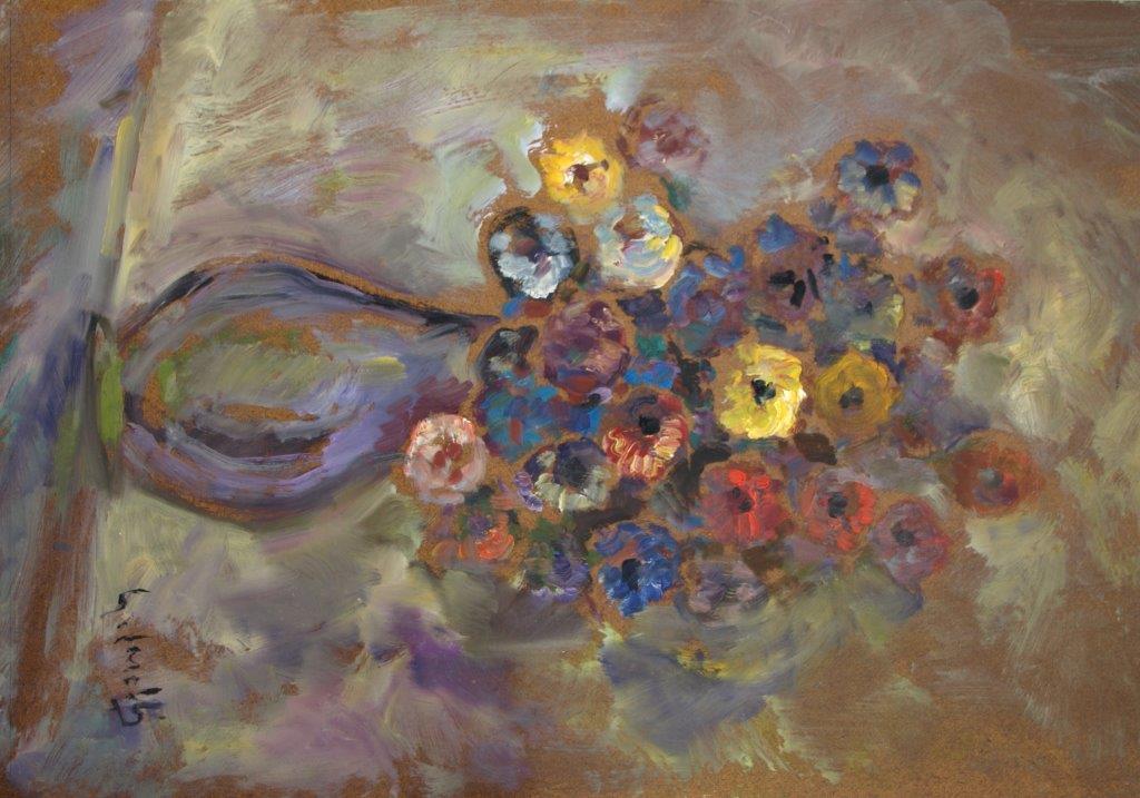Vaso di fiori2 olio su faesite 49,8x70,6